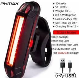 Lanterna Traseira Selim Bike Alerta Pisca 6 Modos - 100 Lumens