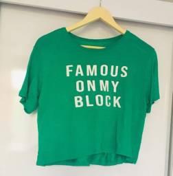 Camiseta Cropped Verde C&A Tamanho M