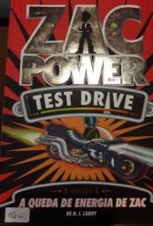 Livro infantil Zac Power teste drive