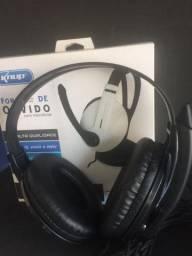 Fone com microfone KNUP KP-418 super confortável e ótima qualidade de áudioo