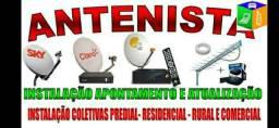 Antena digital e satélite ; apontamento instalação e atualização