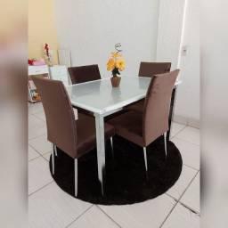 ?Mesa de Jantar Retangular com 4 Cadeiras Bartira Marcela em Courino <br> $1,100 avista