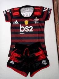 Conjunto Feminino do Flamengo - (Baby look + Shortinho)