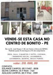 Título do anúncio: Casa no centro de Bonito Pernambuco