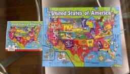 Quebra cabeça importado Estados Unidos c/ estados e capitais
