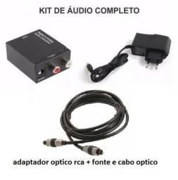 Kit  conversor óptico rca + cabo óptico
