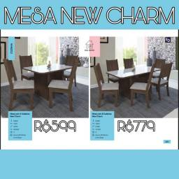 Mesa New Charm de 4 cadeiras e de 6 gavetas