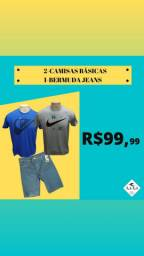 Combo 2 Camisas e Bermuda jeans
