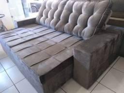 Sofá retrátil e reclinável tecido veludo direto da fabrica