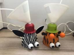Duas Luminárias de Teto Infantil Philips Zoo - Zebra e Girafa