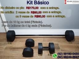 Halteres e barras (Kits para treino).
