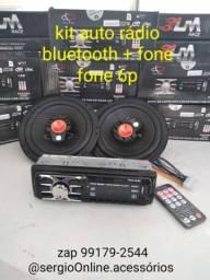 Promoção kit fone 6p + auto rádio bluetooth zero