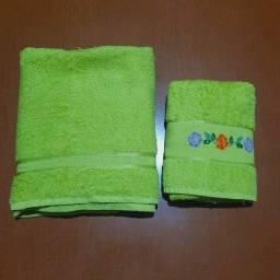 Título do anúncio: Kit de Toalhas de Banho Verde Limão:<br>- Toalha de Banho e Toalha de Rosto