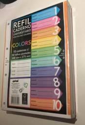 Caderno universitário c/50 fls coladas refil color 4 furos Spiral PT 10 UN