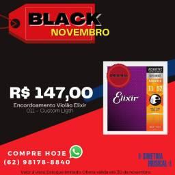 Encordoamento Violão Elixir 011 custom light - Promoção Black Novembro