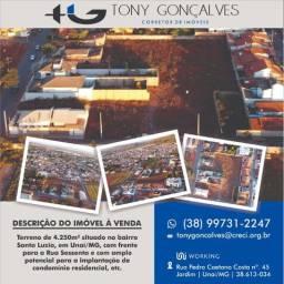 Terreno de 4.250m² situado no bairro Santa Luzia | Unaí/MG