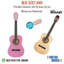 Violão Infantil Winner - Tamanho: 3/4 Júnior Nylon - Rosa ou Natural