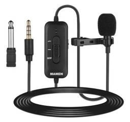 Microfone de lapela Mamen KM-D2.para celular e câmera