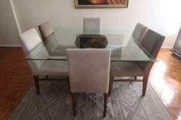 Mesa de Jantar s/ cadeiras em Vidro Incolor 75 cm x 140 cm x 140 cm