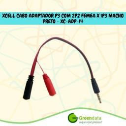 Cabo Adaptador p2 3 vias x p2 microfone e p2 áudio estéreo