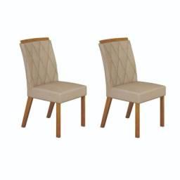 Conjunto com 2 Cadeiras Esmeralda New Leifer Móveis Pena Palha/Imbuia Mel CestaPlus
