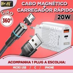 Carregador Rápido 20W + Cabo Magnético 360º