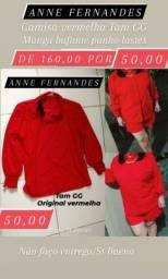1 Camisa vermelha marca ANNE FERNANDES tam GG original manga bufante punho lastex 50,00