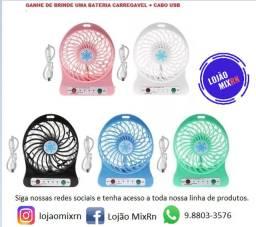 Mini Ventilador Portátil Recarregável Usb 3 Velocidades cores variadas