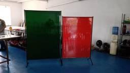 Biombo com cortina de Solda Padrão com Rodizio proteção contra respingos e fagulhas