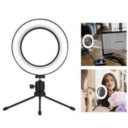 Ring Light de mesa, 6 polegadas, com mini tripé