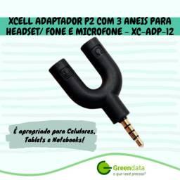 Adaptador p2 3 vias x p2 microfone e p2 áudio estéreo
