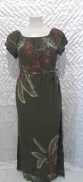 Vestido longo verde floral
