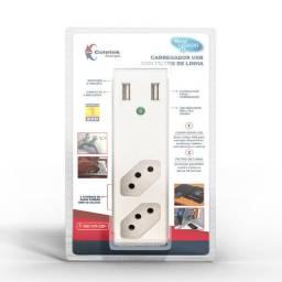 Carregador USB p/ proteção contra surtos de tensão novo e nota fiscal