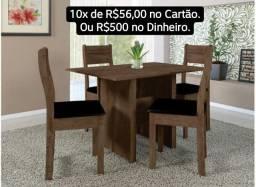 Conjunto de Jantar de Mesa com 4 Cadeiras em MDF na Caixa Lacrado de Fábrica