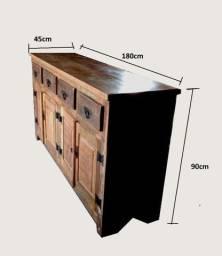 Buffet em madeira de demolição 1,80x0,90x0,45