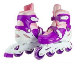 Kit Patins roller ajustável feminino . Usado 3 vezes