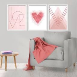 Kit Quadro Decorativo Mármore Love Heart