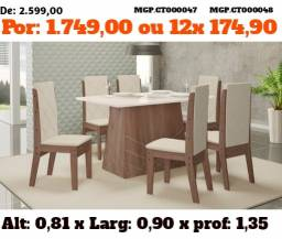 Conjunto de Mesa de 06 Cadeira em Luxo Estofada - Pagamento e Entrega Sem Sair