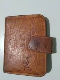 Bela carteira em couro de avestruz Strut