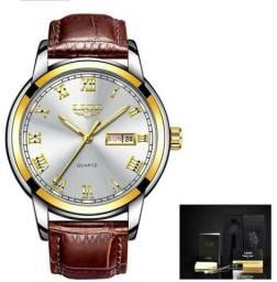 Relógio Masculino de Luxo Pulseira de Couro