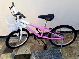 Bicicleta Infantil Aro 20 Sport Bike Thunder Rosa e Branca