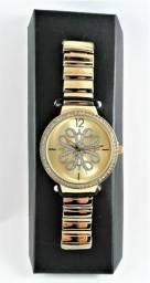 Relógio Pulso Feminino Dourado Com Pedras Strass Luxo