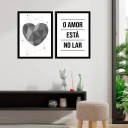 Kit Quadro Decorativo O Amor Está No Lar