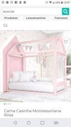 Cama montessoriana casinha rosa