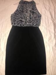 Vestido oncinha preto e cinza