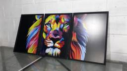 Quadro Leão Colorido Mosaico Bi-Partido