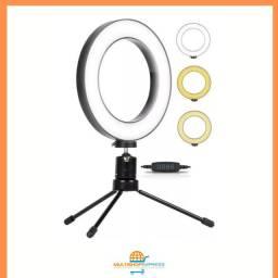 Iluminador Ring Light de Mesa 16cm com Mini tripé Youtuber Maquiagem