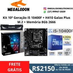 Kit I5 10400F+ H410+Memoria ddr4 8gb 2666 10 geração,novo (lacrado) , Nf e garantia