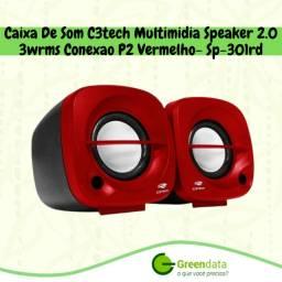 Caixa de som C3tech com conexão p2 Multimídia Speaker 2.0 para pc e notebook