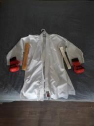 S.Novo - Kimono completo com par de luvas e faixa branca e amarela